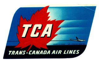 Baggage label for TCA Trans-Canada Air Lines. TCA