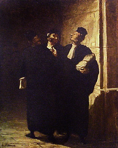 Trois Avocats causants = [Three Lawyers Arguing]. Honoré Daumier