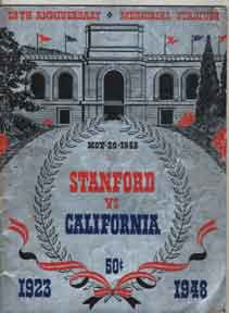 California vs. Stanford. Big Game. 51st Annual Football Game. University of California Football