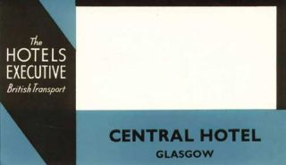 Baggage label for Central Hotel. Central Hotel