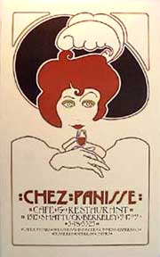 Chez Panisse 1st Birthday. Red Haired Lady. David Lance Goines