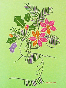 Bouquet on Green Paper. Pablo Picasso