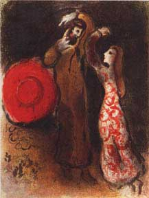 Meeting of Ruth and Boaz. Marc Chagall.
