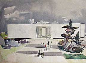 Design for a Monumental Building (with murals, lake and landscaping). Millard Sheets