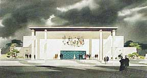 Design for a Monumental Building with Mural and Portico. Millard Sheets