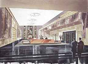 Design for Wilshire Boulevard Masonic Temple Lobby. Now Marciano Museum. Millard Sheets