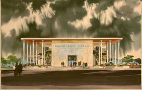 Design for Pomona First Federal Savings and Loan Association, Claremont, California. Millard Sheets.