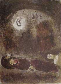 Ruth at the feet of Boaz. Marc Chagall