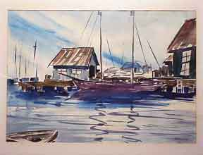 Dock with Sailboats. Bigler