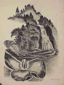 Tropical Landscape with Waterfall. H. Connell