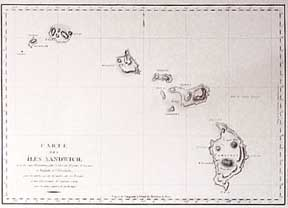 Carte des Iles Sandwich. Map of Hawaii. Captain Cook, la Pérouse