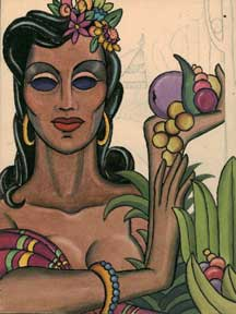 Portrait of a Latin Woman Holding Fruit.