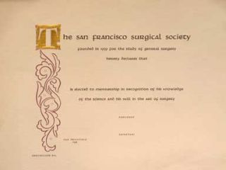 Blank Membership Certificate. Grabhorn Press, San Francisco Surgical Society