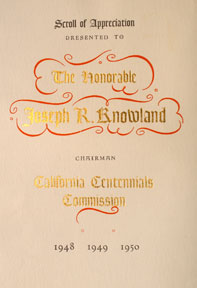 Sample Scroll of Appreciation to Joseph R. Knowland. California Centennials Commission