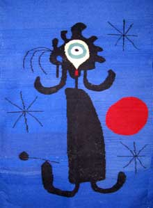 Figure in a blue background with setting sun. Joan Miró, in the style of
