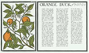 Orange Duck from Thirty Recipes Suitable for Framing. David Lance Goines