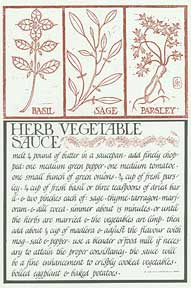 Herb Vegetable Sauce from Thirty Recipes Suitable for Framing. David Lance Goines