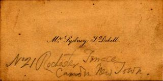 Calling card with invitation to tea in pencil on verso.Dobell, Sydney. Sydney Dobell