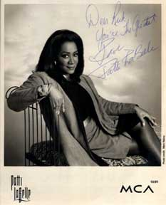 Autographed black and white publicity photograph of chanteuse Patti LaBelle. Marc Raboy