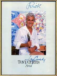 Autographed color publicity photograph of Tony Curtis, Artist. Tony Curtis