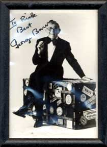 Autographed black and white publicity photograph of Gracie Allen's sidekick George Burns. George...