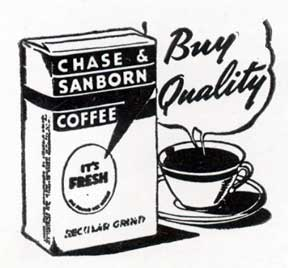 Chase & Sanborn Coffee. Letterpress Metal Cut Artist