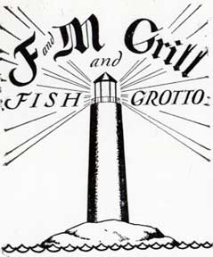 F and M Grill and Fish Grotto [with a lighthouse]. Letterpress Metal Cut Artist
