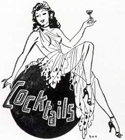 Cocktails. [Glamorous girl holding a cocktail]. Letterpress Metal Cut Artist