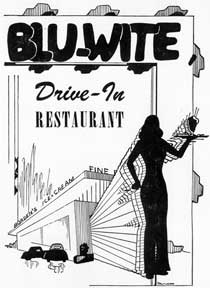 Blu-Wite Drive-In Restaurant. Borden's Ice Cream. [Streamline moderne architecture with waitress...
