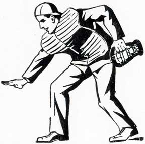 Baseball Umpire. Letterpress Metal Cut Artist