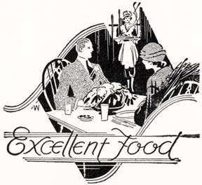 Excellent Food. [Waitress serving a couple in 1920s garb]. Letterpress Metal Cut Artist