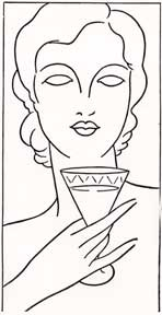 Art deco lady holding a drink. Letterpress Metal Cut Artist