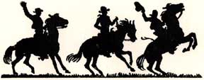 Cowboys on horseback in silhouette. Letterpress Metal Cut Artist