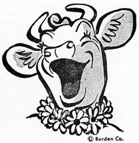 Elsie the Borden cow mascot. Letterpress Metal Cut Artist