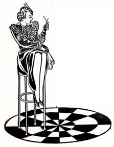 Art deco girl with drink on stool. Letterpress Metal Cut Artist