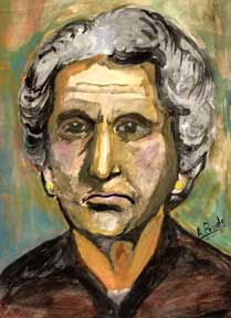 Portrait of an Older Woman with Yellow Face and Earrings = Retrato de un mujer con pendientes...