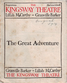 Program for The Great Adventure. Kingsway Theatre, London