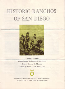 Prospectus for Historic Ranchos of San Diego. Cecil C. Moyer, Richard F. Pourade