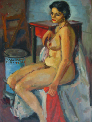 Seated Nude by a Stove. John J. Payne.