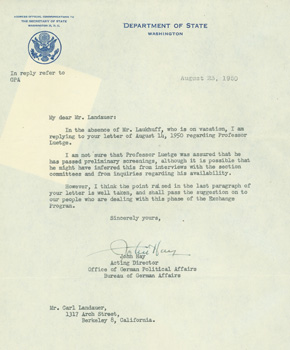 TLS from John Hay to C. Landauer re: U. S. State Dept. Bureau of German Affairs. John Hay