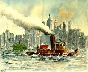Tugboat on the Hudson River. Goldie Chambers