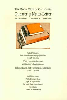 The Book Club of California Quarterly News-Letter, v. LXIII, no. 4. Fall, 1998. Book Club of...