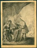 One-legged peasant being served dinner. Jan Van Vliet, after Rembrandt