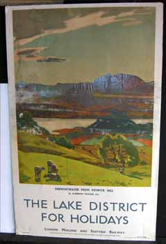 The Lake District for Holidays. A London Midland and Scottish Railway poster featuring Algernon...