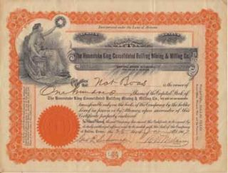 Stock certificate for the Homestake King Consolidated Bullfrog Mining & Milling Co. Homestake...