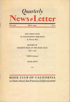Quarterly News-Letter. Vol. 39, No. 1. Book Club of California