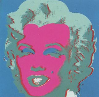 Marilyn Monroe 1967 in Flax Blue, Seafoam, Dark Turquoise, Rose and White. Andy Warhol, After.