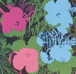 Flowers 1970 in Grass Green, Sky Blue, Rose, Rose Pink and Black. Andy Warhol, After