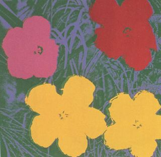 Flowers 1970 in Meadow Green, Wisteria Blue, Chrome Yellow and Wine Red. Andy Warhol, After