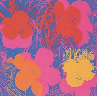 Flowers 1970 in Wisteria Blue, Carmine, Crimson, Carrot Red and Chrome Yellow. Andy Warhol, After